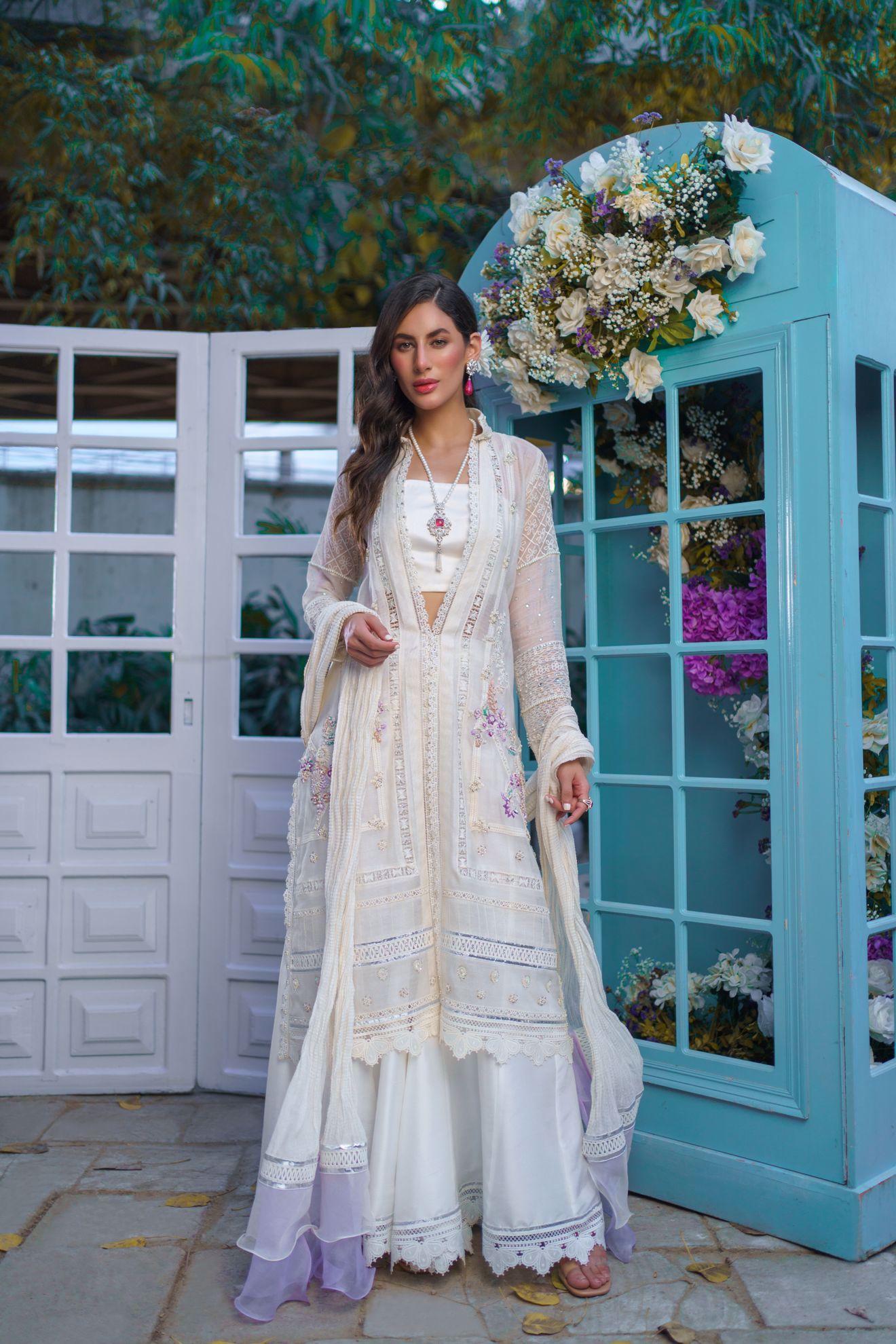 Picture of Aleeza, Dove White Cotton net Jacket