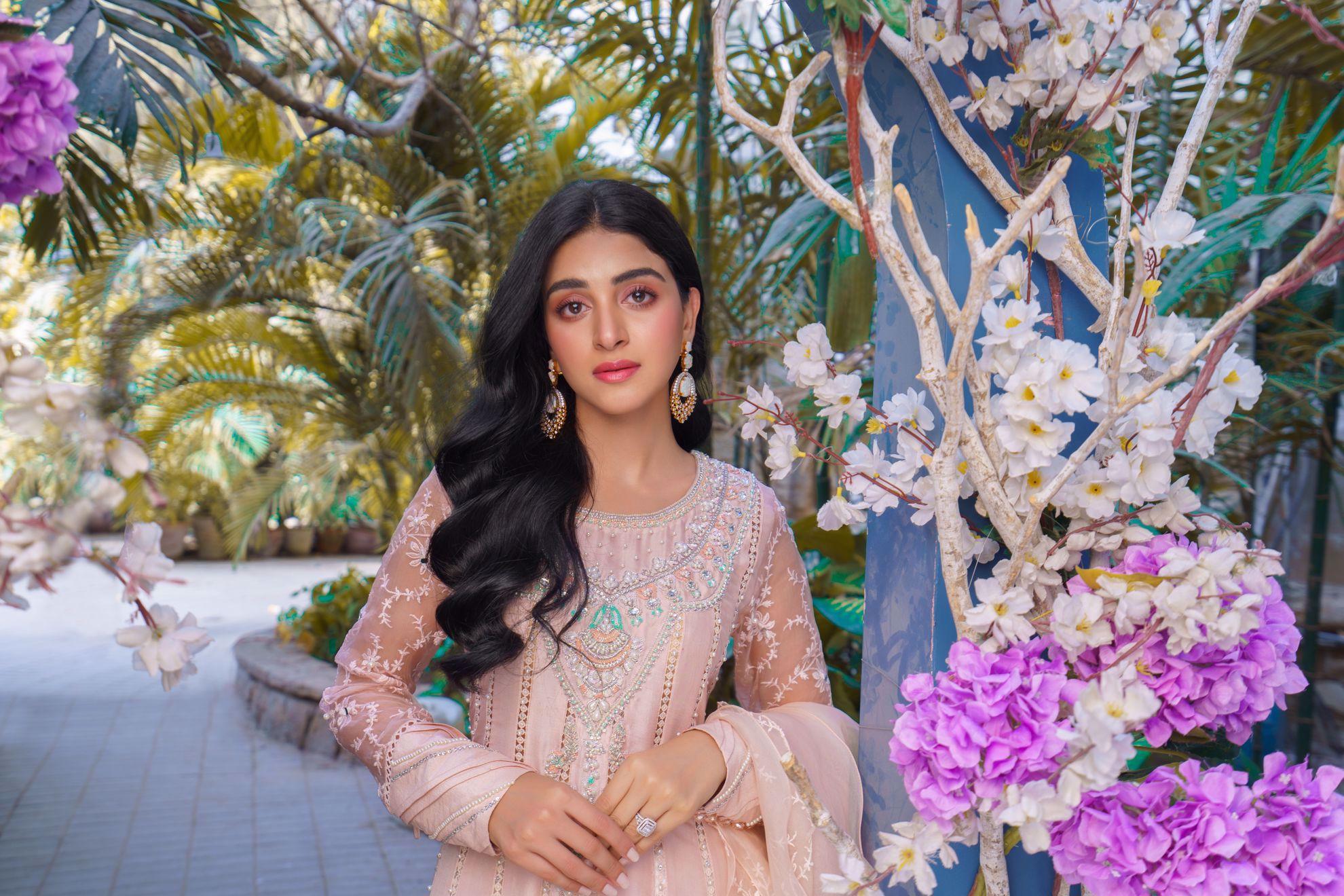 Picture of Aleyna, Kashmiri Pink Raw Silk Kalidaar