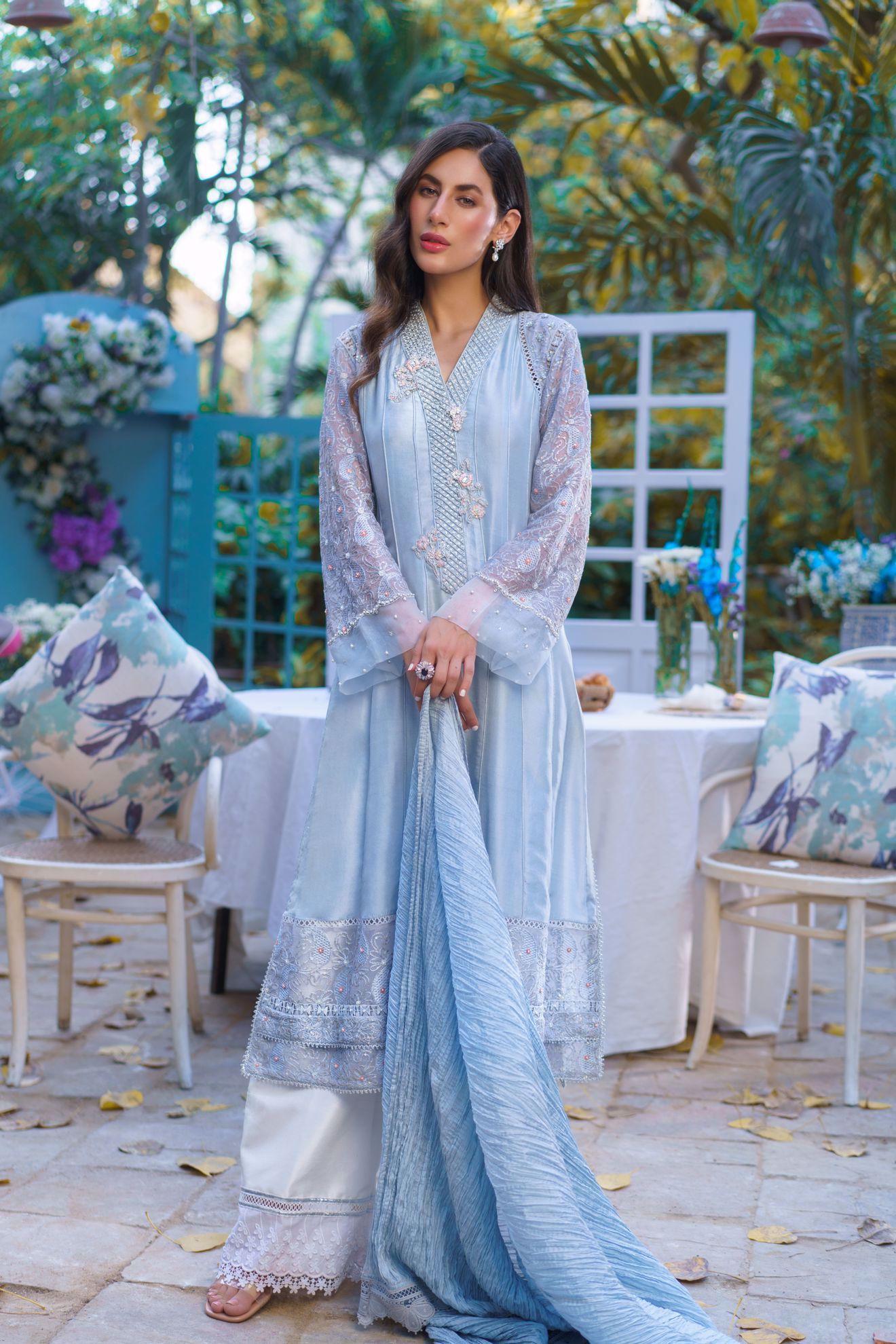 Picture of Della, Grey Raw Silk A-Line Shirt