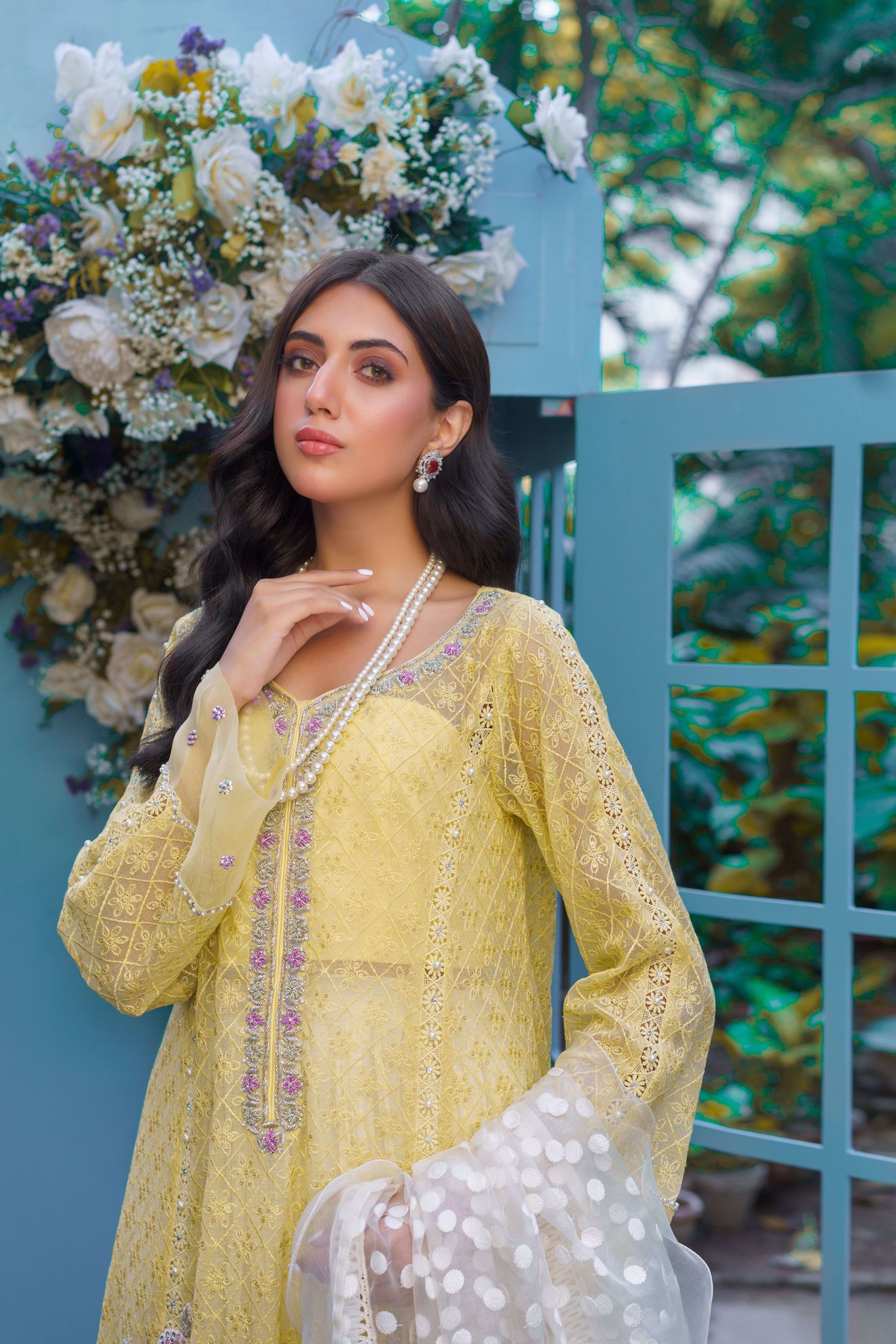 Picture of Liyana, Ice Yellow Chikankari Shirt