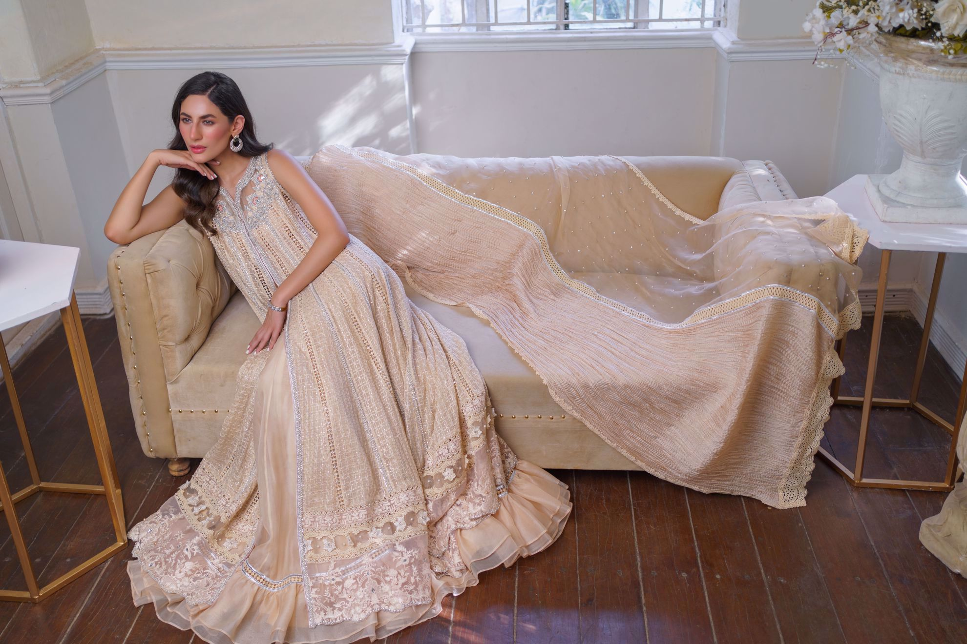 Picture of Maaysa, Peach Champagne front open Chikankari Kalidaar