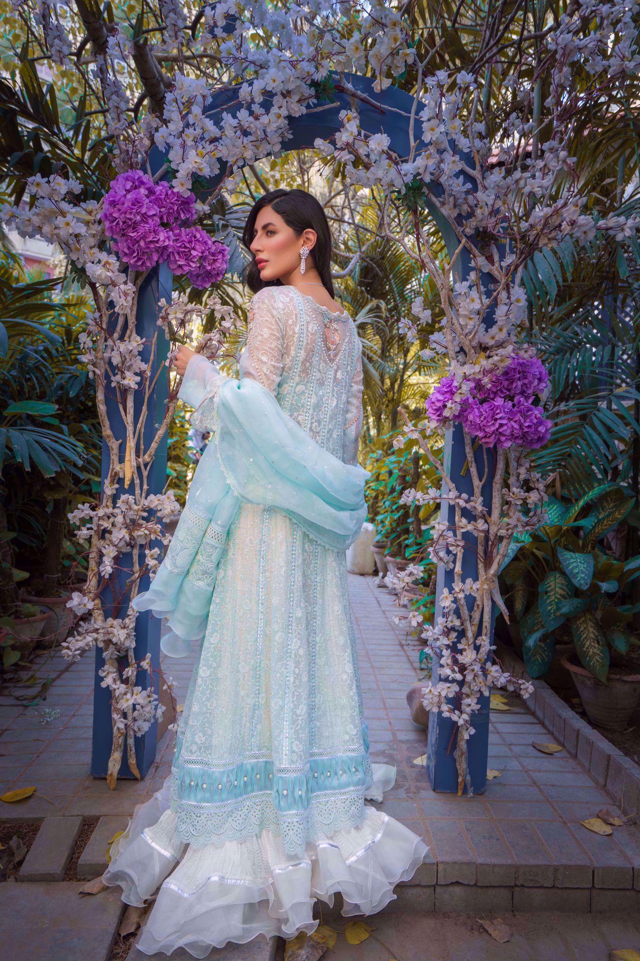 Picture of Alaziah, Jade WHite Chikankari Angarkha