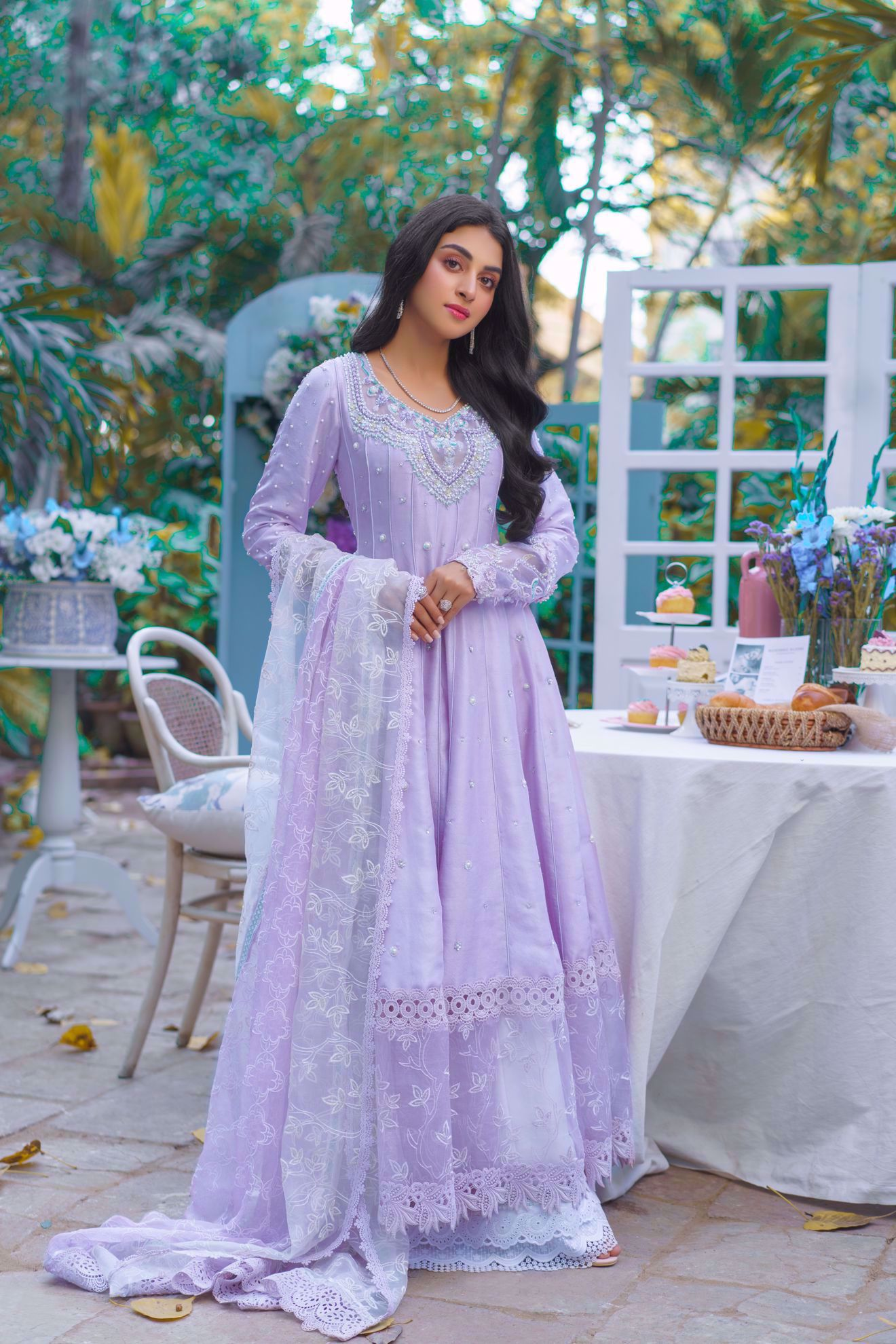 Picture of Noor, Lavender pure silk Kalidaar