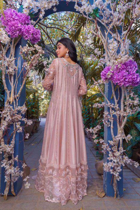 Aleyna, Kashmiri Pink Raw Silk Kalidaar